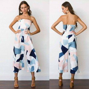 Geometric Pattern Print Strapless Sleeveless Jumpsuit
