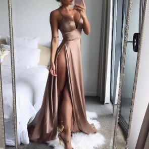 V-Neck High Split Sleeveless Slip Backless Satin Dress
