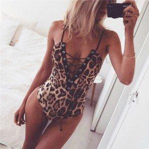 Spaghetti Strap Deep V Neck Leopard Bodysuit Romper