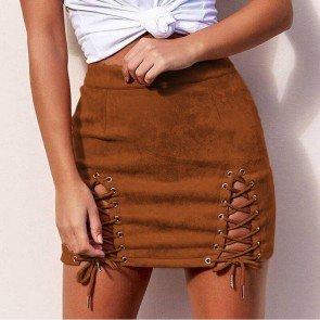 Bandage Suede Skirt High Waist Pencil Short Skirt