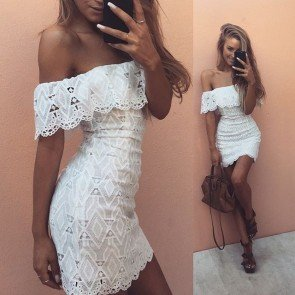 Off Shoulder Scalloped Edges Sleeve Lace Mini Dress