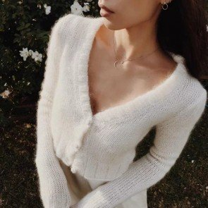 V-neck Plush Knit Sweater Cardigan Velvet Tops