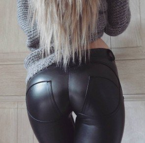 Faux Leather Elastic Shaping Hip Push Up Pants Leggings
