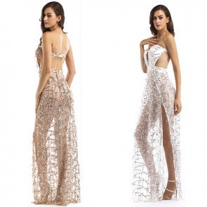 Sequins Strapless Cocktail Embroidery Backless Long Dress