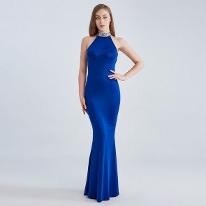 Sleeveless Halter Gown Bling Back Elegant Long Dress