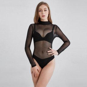 Sexy Long-Sleeved Turtleneck Elastic Mesh Bodysuit