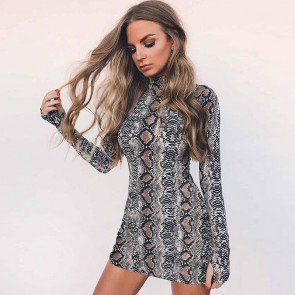 Long Sleeve Snake Print Bodycon Dress