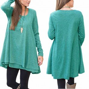 Casual O-neck Long Sleeve Solid Mini Dress Plus Size
