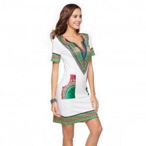 Ethnic Style Dashiki Print Short Sleeve V Neck Dress