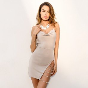 Leg Slit High Waist Backless Cocktail Halter Dress
