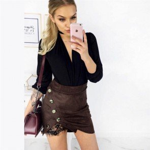 Women Furcal Lace Bodycon Skirt Sheath with Buttons
