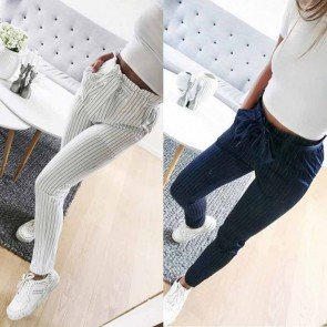 Skinny Pencil High Waist Striped Trousers With Belt