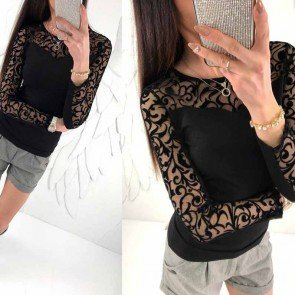 Embroidery Lace Crochet Long Sleeve Black T-Shirt