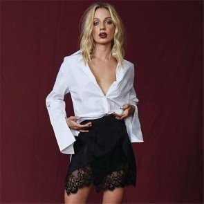 Women Lace Stretch High Waist Short Bodycon Mini Skirt