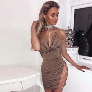 Choker Halter Backless Sequin Evening Party Club Dress