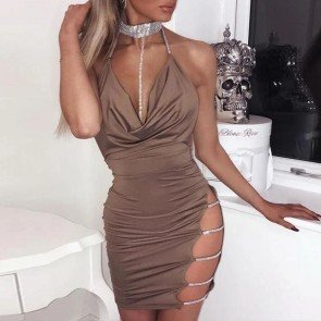 Choker Halter Backless Sequin Evening Party Club Dress