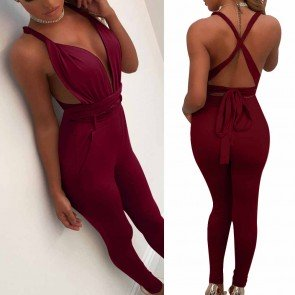 Halter Long Jumpsuits Sleeveless Catsuits Playsuits