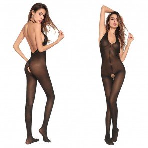 Women Sexy Lace Open Crotch Body-stocking Hosiery