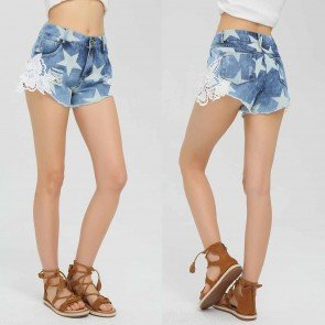 High-rise Jean Shorts Floral Embroidery Medium Wash