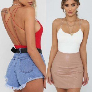 CrissCross Back Sleeveless Slim Tops Rompers Bodysuit