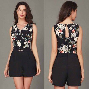 Mini Playsuit Jumpsuit Floral Beach Shorts Rompers