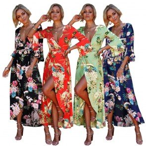 Long Maxi Dress Bohemian Exotic Floral Kimono Kaftan