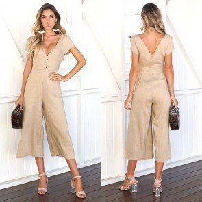 Women Casual Cross V-Neck Short Sleeve High Waist Solid Jumpsuit