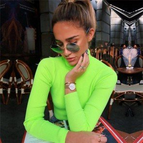 Turtleneck Neon Color T-shirt