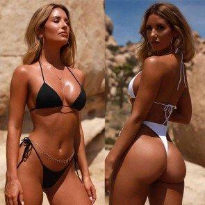 Two Piece Push Up Thong Bottom Triangle Bra Bikinis Set