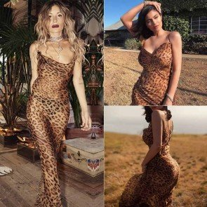 Semi Sheer Leopard Print Cowl Neck Maxi Dress