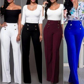 Wide Leg Pants Stretch Loose High Waist Slacks Trousers