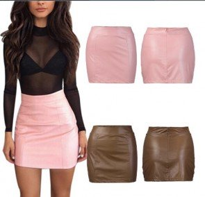 Sexy Leather High Waist Bodycon Hip Short Mini Skirt
