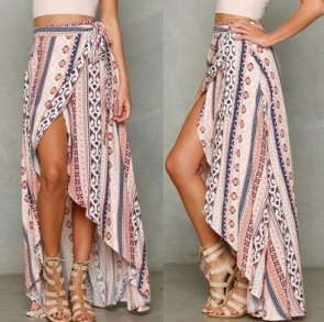 Boho Gypsy Tribal Floral Skirt Beach Long Casual Skirt