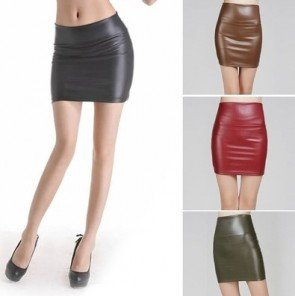 Faux PU Leather Pencil Bodycon High Waist Short Skirt