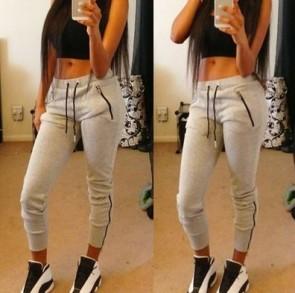 Leggings Cotton Soft Sweat Pants Zipper Pocket Trouser