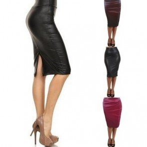 Women faux leather pencil skirt High Waist Sexy Dress