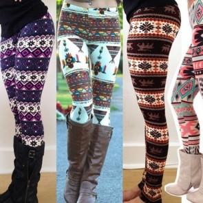 Snowflake Reindeer Knitted Tights Pants Warm Leggings