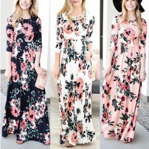 Floral Print Sleeve Boho Dress Ladies Long Maxi Dresses