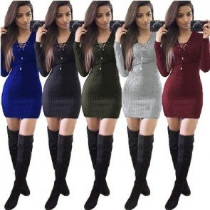 Club Long Sleeve Knitted Lace Up V-Neck Hip Mini Dress