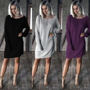 Lady Casual Sweater Pullover Sweater Long Sleeve Dress