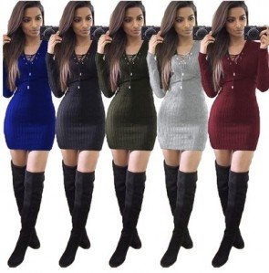 Knitted Lace Up V-Neck Package Hip Pencil Mini Dress