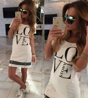 Cotton Casual Long Tops Blouse Ladies Summer Mini Dress