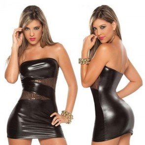 Big Yards Bra Sexy Hip PU Nightclub Sequined Minidress