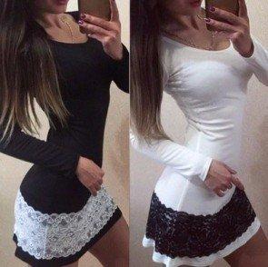 Women Sexy Bodycon Long Sleeve Lace Mini Short Dress