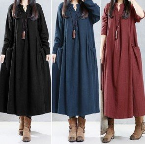 Long Sleeve V Neck Cotton Kaftan Casual Maxi Dress