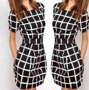 Short Sleeves Plaid Slim Bodycon Casual Pencil Dress