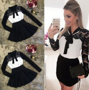 Long Sleeve Bowknot Pleated Waisted Sweet Lace Dress