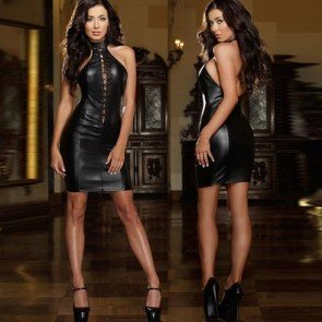 Patent Leather Dress Dance Clothing Performance Costume