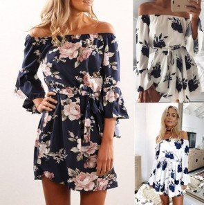 Boho Off Shoulder Floral Print Backless Mini Dress