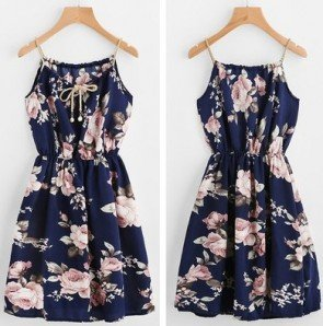 Beach Casual Boho Strap Tie Flower Print A Line Dress